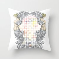 angels Throw Pillows featuring Angels by FakeFred