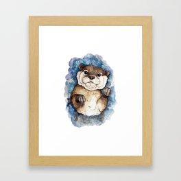 Watercolor Otter Framed Art Print