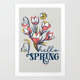 First Spring Flowers / Snowdrop, Primrose, Crocus Art Print