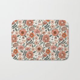 70s flowers - 70s, retro, spring, floral, florals, floral pattern, retro flowers, boho, hippie, earthy, muted Bath Mat