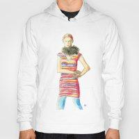 dress Hoodies featuring Striped Dress by Pani Grafik