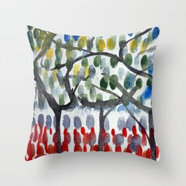 Trees In The Garden - Abstract watercolor with red and green Throw Pillow