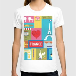 France - Collage Illustration by Loose Petals T-shirt