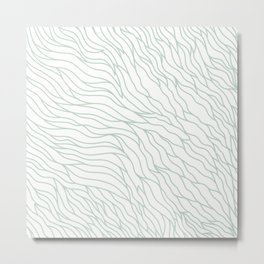 Mint green white abstract hand painted geometrical waves Metal Print