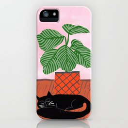 Potted plant V with cat iPhone Case