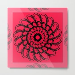 Mandala 10 Black on Bright Pink with Extended Edging Metal Print