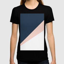 Elegant blush pink & navy blue geometric triangles T-shirt