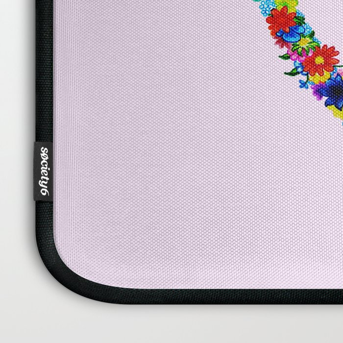 heart made of flowers on a pink background . Artwork Laptop Sleeve