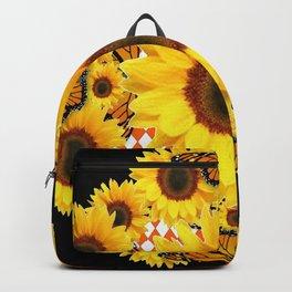 BLACK & MONARCH BUTTERFLIES & YELLOW SUNFLOWERS Backpack