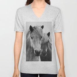 Horses - Black & White 7 Unisex V-Neck