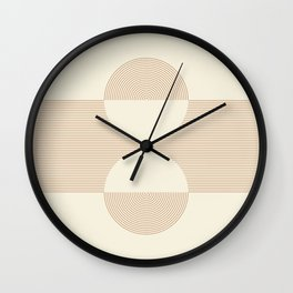 Geometric lines in Shades of Coffee and Latte 2 Color Theme Wall Clock