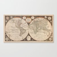 world map Canvas Prints featuring World Map by Le petit Archiviste