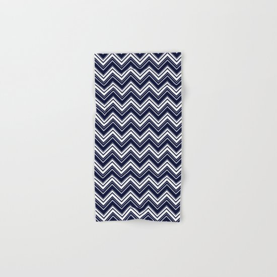 Maritime pattern- chevron - white and darkblue Hand & Bath Towel