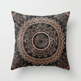 Mandala - rose gold and black marble Throw Pillow