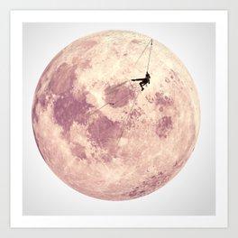 Pink Moon Climbing Art Print