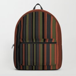 Multi-colored striped pattern in green , black and brown tones . Backpack