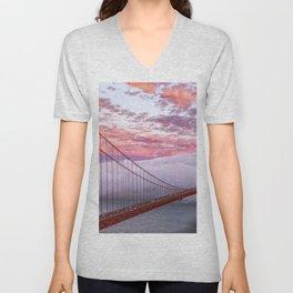 World Famous Golden Gate Bridge San Francisco California Low Hanging Clouds Romantic Evening Red Unisex V-Neck