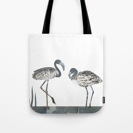 Flamingos in Silvery Blue Tote Bag