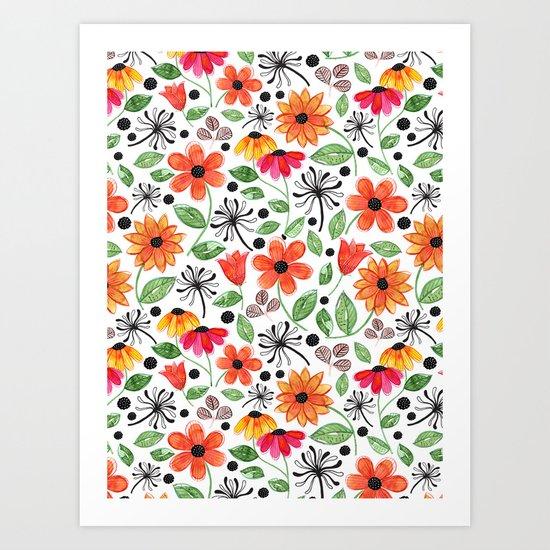 Dandelions & Flowers / White Art Print