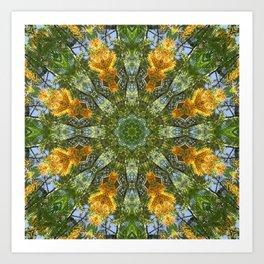 Yellow Tree Flower Kaleidoscope Art 6 Art Print