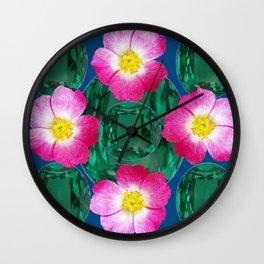Contemporary GREEN GEMS MODERN PINK ROSE ART DESIGN Wall Clock
