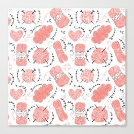 Knitting Yarn Pattern Pink Canvas Print