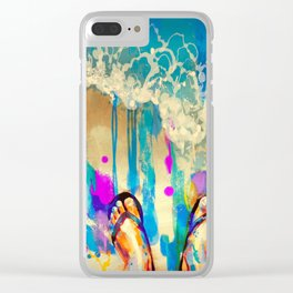 colorful feet with flip flops on sandy beach Clear iPhone Case