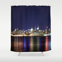 Midtown Manhattan Reflecting on the East River Landscape Painting by Jeanpaul Ferro Shower Curtain