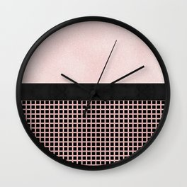Textured Pink Design With Black Checkered Pattern Wall Clock