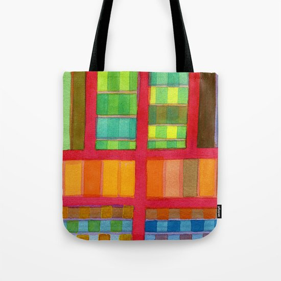 Red Grid with Checks Pattern and vertical Stripes Tote Bag