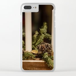 Candles and pine leaves Clear iPhone Case