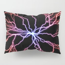 Electrical Lightning Discharge Blue to Red Pillow Sham