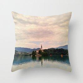Lake Bled Fairy Tale Throw Pillow