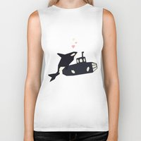 killer whale Biker Tanks featuring K is for Killer whale by Yetiland