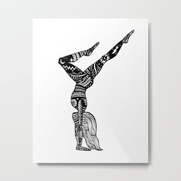 Yoga Girl - Handstand Moon and Stars Metal Print