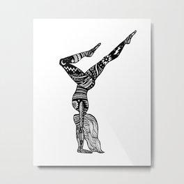 Yoga Girl - Handstand Moon and Stars Metal Print