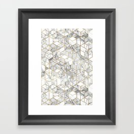 White marble geomeric pattern in gold frame Framed Art Print