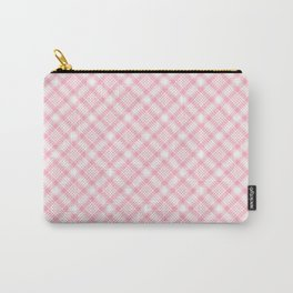 Light Pink Diagonal Plaid Pattern Carry-All Pouch