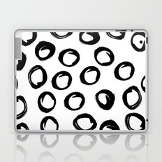 Kyrla - brushstrokes india ink black and white modern brooklyn art print college dorm student decor Laptop & iPad Skin