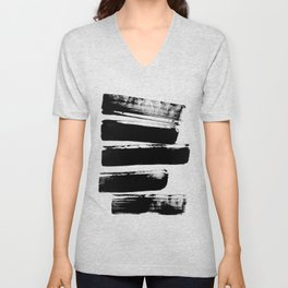 Stripes Black & White Minimalist Abstract Mid century Ink Art Dark Brush Strokes Unisex V-Neck