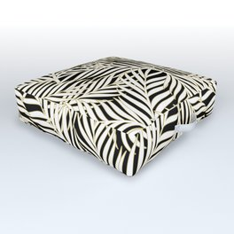 Palm Leaves Bg Black Outdoor Floor Cushion