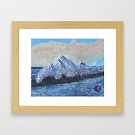 Waves on Rocks Framed Art Print