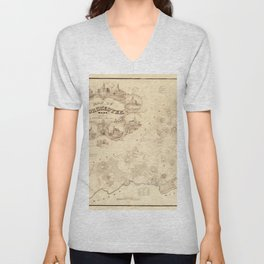 Map Of Dorchester 1850 Unisex V-Neck