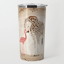 Precious Love Giraffe and Flamingo Watercolor Painting , Unlikely Lovers Hope Travel Mug