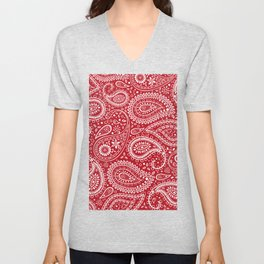 Beautiful Pattern of Paisley Art, Flowers and Doodle Art - Red and White Unisex V-Neck