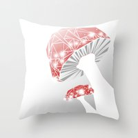 mushrooms Throw Pillows featuring MUSHROOMS by ARCHIGRAF