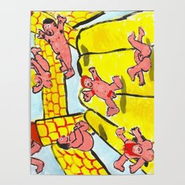 Pink People On Bouncy Castle Poster