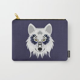 White Wolf - purple Carry-All Pouch