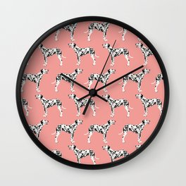 Dalmatian pastel pink pet portraits dog art must have black and white dog breed animal fur baby  Wall Clock