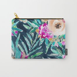 SO CASUAL Dark Tropical Palm Floral Carry-All Pouch